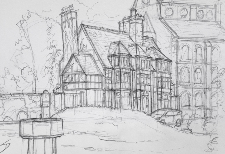 Urban Art 'Castle Gates, Shrewsbury, UK.' Great old building, near Shrewsbury Castle. sketchbookexplorer.com #art #drawing #sketch #pencil #illustration #travel #architecture