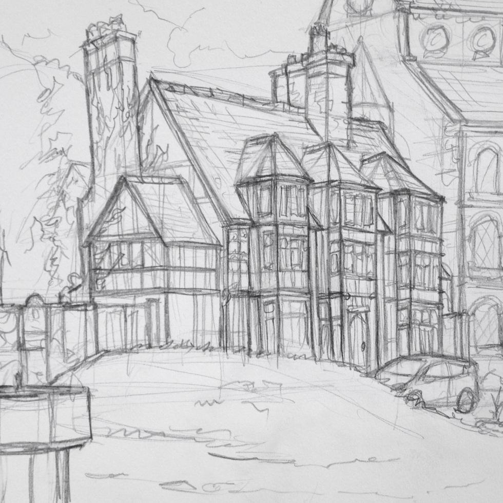 Urban Art 'Castle Gates, Shrewsbury, UK.' sketchbookexplorer.com #art #drawing #sketch #pencil #illustration #travel #architecture