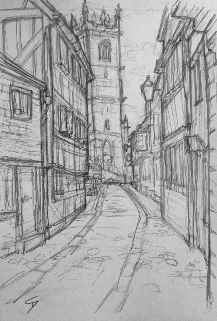 Urban Art 'Fish Street, Shrewsbury, UK.' The view from just below the Bear Steps gallery. Sketched while standing up - those erasers on the end of the pencils finally become really useful. sketchbookexplorer.com #art #drawing #sketch #pencil #illustration #travel #architecture