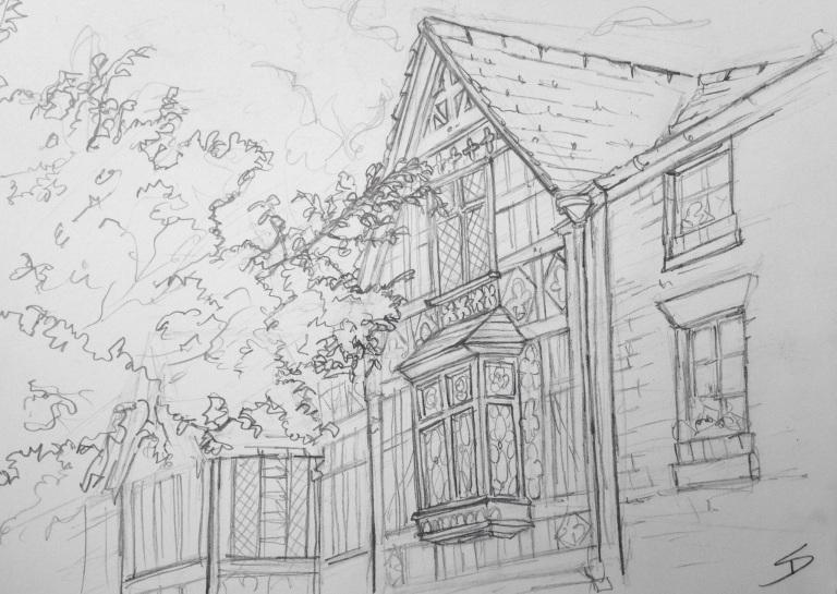 Urban Art 'Saint Alkmond's Place, Shrewsbury, UK. sketchbookexplorer.com #art #drawing #sketch #pencil #illustration #travel #architecture