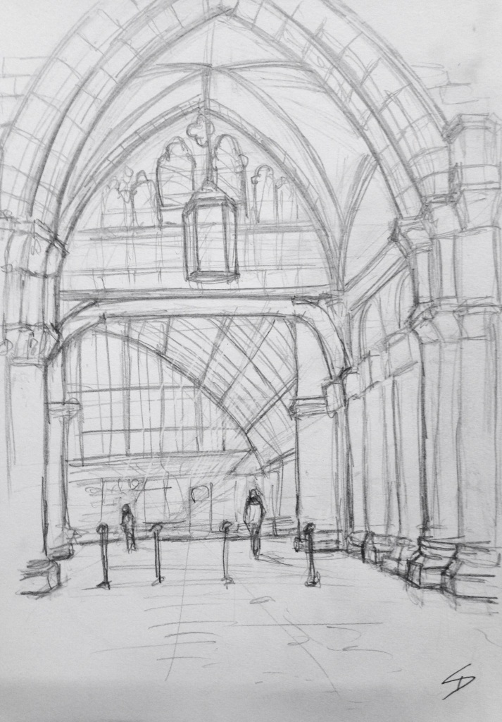 Urban Art 'St Pancras, London, UK.' sketchbookexplorer.com #art #drawing #sketch #pencil #illustration #travel #architecture