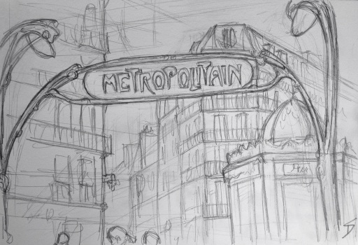 Rue La Fayette, Paris. View of a Metro sign from a cafe.