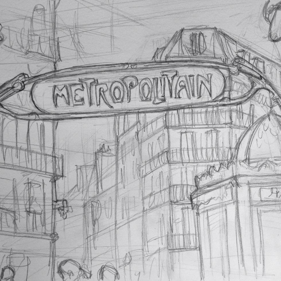 Urban Art 'Rue La Fayette, Paris, France.' sketchbookexplorer.com #art #drawing #sketch #pencil #illustration #travel #architecture