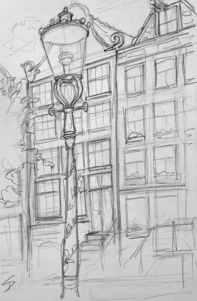 Urban Art 'Groenburgwal, Amsterdam, Netherlands.' sketchbookexplorer.com #art #drawing #sketch #pencil #illustration #travel #architecture