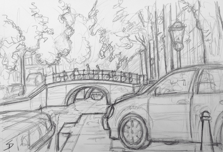 Urban Art 'Leliegracht, Amsterdam.' Near Anne Frank's house. The museum is worth a visit. sketchbookexplorer.com #art #drawing #sketch #pencil #illustration #travel #architecture