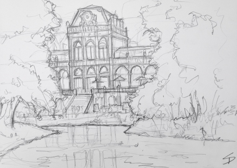 Urban Art 'Vondelpark, Amsterdam.' A huge park - bikes, joggers and fearless herons. sketchbookexplorer.com #art #drawing #sketch #pencil #illustration #travel #architecture