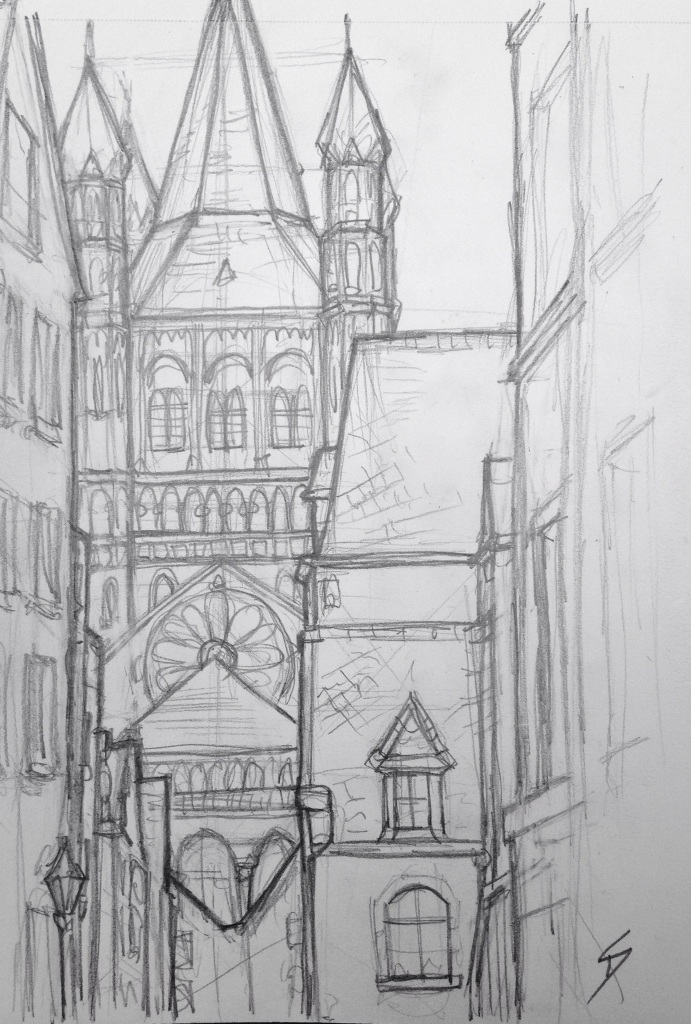 Urban Art 'Auf Dem Rothenberg, Cologne, Germany.' A short walk from the Lindt chocolate museum - not enough free chocolate, but it has a decent cafe. sketchbookexplorer.com #art #drawing #sketch #pencil #illustration #travel #architecture