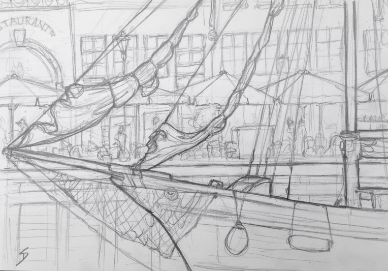 Urban Art 'Nyhavn, Copenhagen, Denmark.' Near Hans Christian Andersen's house. The harbour is lined with lots of sail ships. sketchbookexplorer.com #art #drawing #sketch #pencil #illustration #travel #architecture