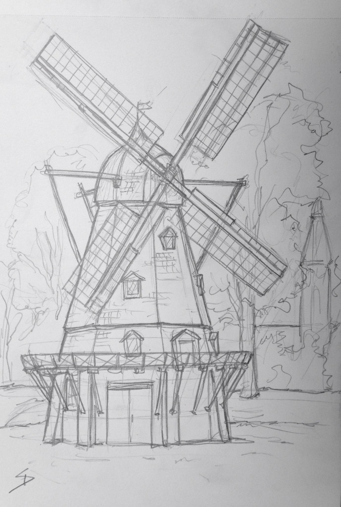 Urban Art 'Kastellet, Copenhagen, Denmark.' It sits in the park grounds of an army fort, near the Little Mermaid statue. While drawing this, I got told not to sit on the grass by an armed soldier. sketchbookexplorer.com #art #drawing #sketch #pencil #illustration #travel #architecture