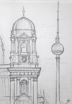 Lustgarten, Berlin. I drew this early in the morning, and the marathon was on, so the streets were empty.