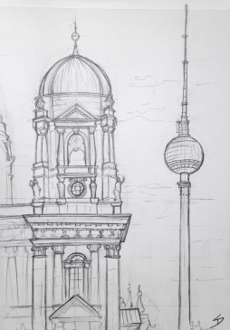 Urban Art 'Lustgarten, Berlin, Germany.' I drew this early in the morning, and the marathon was on, so the streets were empty. sketchbookexplorer.com #art #drawing #sketch #pencil #illustration #travel #architecture