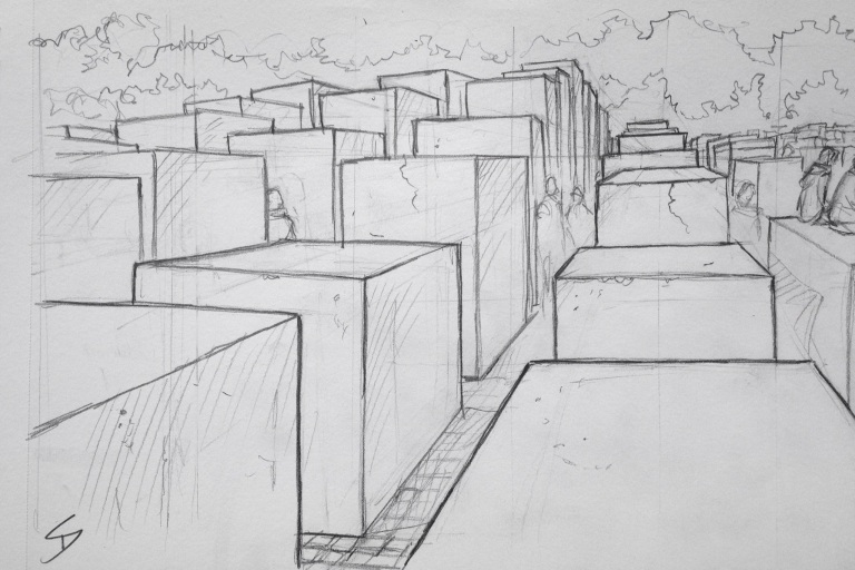 Urban Art 'Memorial to the Murdered Jews of Europe, Berlin.' There's a museum beneath it - has very moving exhibits. sketchbookexplorer.com #art #drawing #sketch #pencil #illustration #travel #architecture