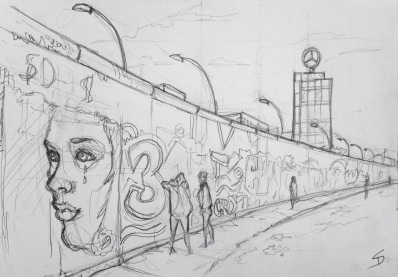 Urban Art 'East Side Gallery, Berlin, Germany.' A section of the Berlin Wall, with artwork on both sides. sketchbookexplorer.com #art #drawing #sketch #pencil #illustration #travel #architecture