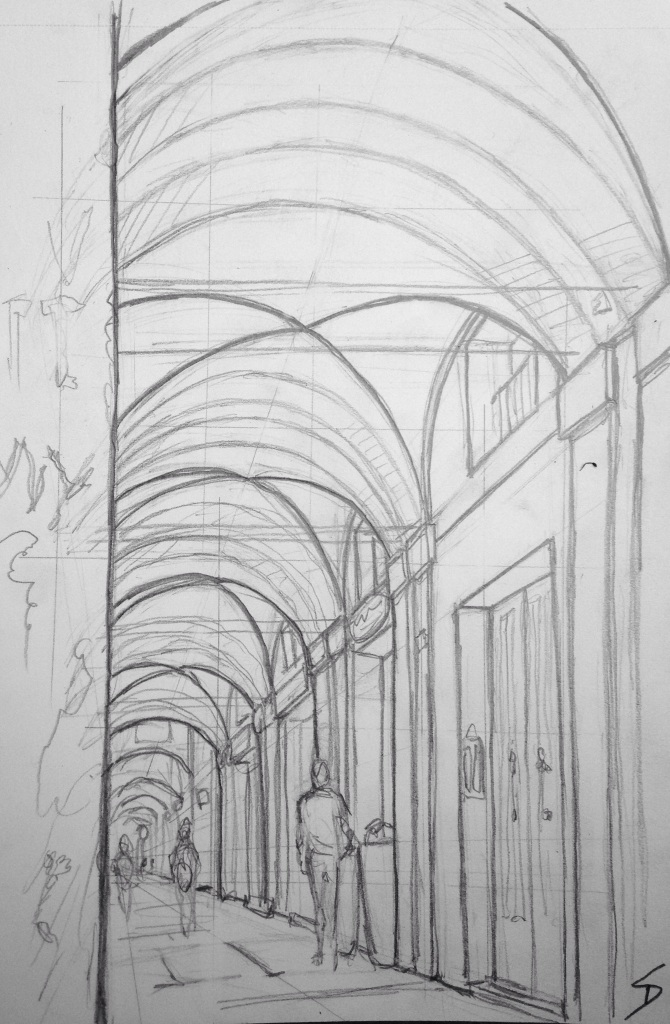 Urban Art 'Via Saragozza, Bologna, Italy.' The longest stretch of porticoes in the world. It's popular with joggers. sketchbookexplorer.com #art #drawing #sketch #pencil #illustration #travel #architecture