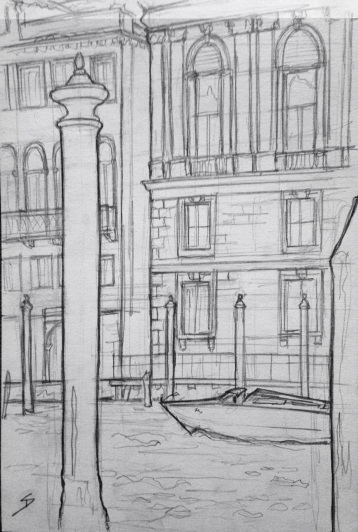 Urban Art 'Fondamenta Rezzonico, Venice, Italy.' It was chucking it down. So I took shelter in a museum cafe to draw this. sketchbookexplorer.com #art #drawing #sketch #pencil #illustration #travel #architecture