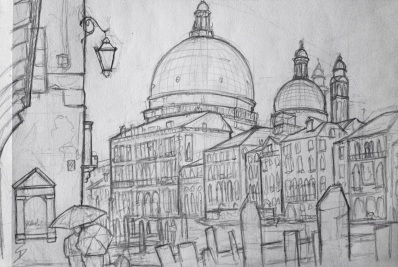 Calle del Dose da Ponte, Venice. It was still raining. So to draw this picture, I stood under a tiny archway.