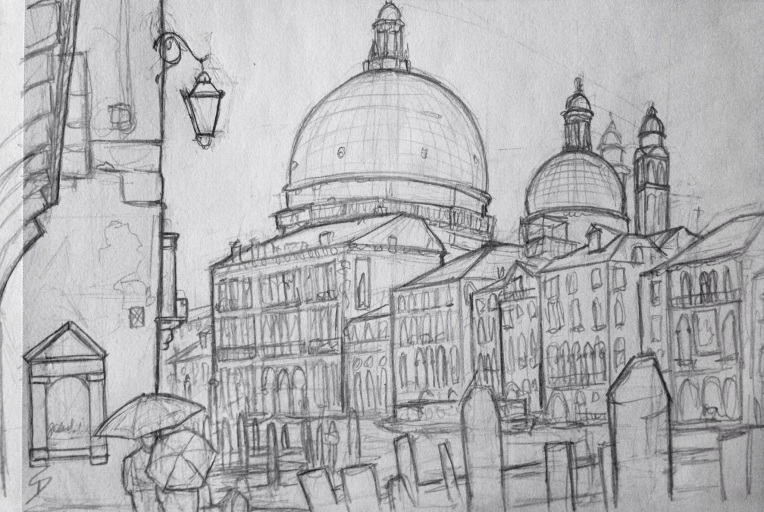 Urban Art 'Calle del Dose da Ponte, Venice, Italy.' It was still raining. So to draw this picture, I stood under a tiny archway. sketchbookexplorer.com #art #drawing #sketch #pencil #illustration #travel #architecture