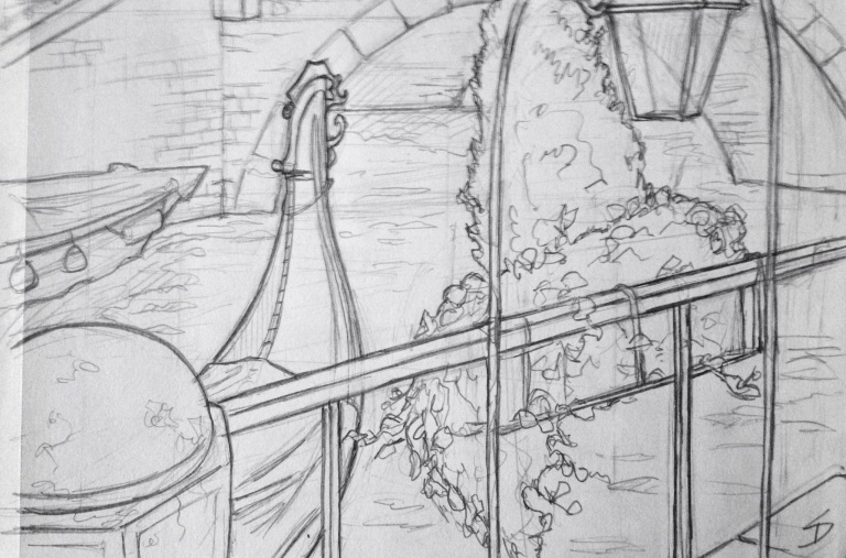 Urban Art 'Ponte Tre Ponti, Venice, Italy.' Drawn from a cafe, after a long search for a view with decent shelter from the rain. sketchbookexplorer.com #art #drawing #sketch #pencil #illustration #travel #architecture