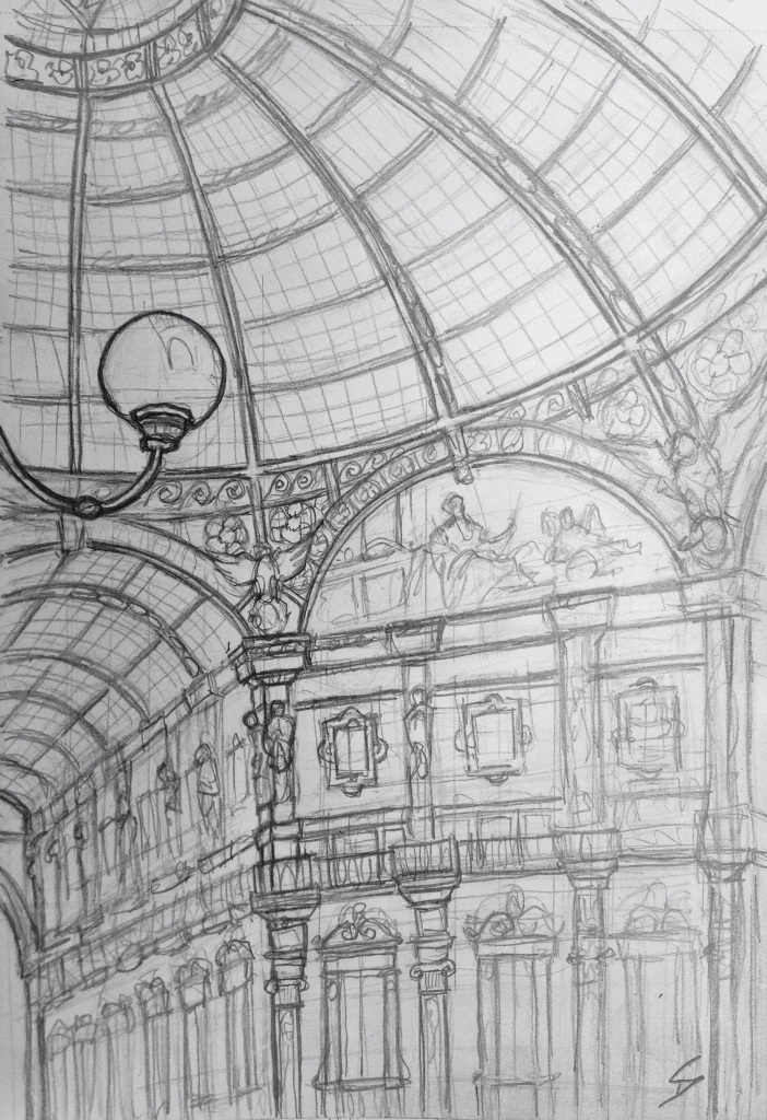 Urban Art 'Galleria Vittorio Emanuele II, Milan, Italy.' It's full of high-end fashion stores and restaurants. sketchbookexplorer.com #art #drawing #sketch #pencil #illustration #travel #architecture