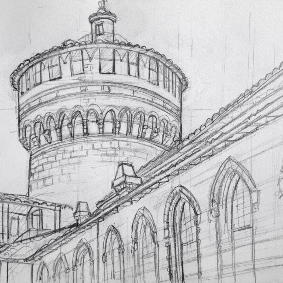 Urban Art 'Castello Sforzesco, Milan, Italy.' The banks of the castle's old moat are popular with local sun-worshipers. sketchbookexplorer.com #art #drawing #sketch #pencil #illustration #travel #architecture