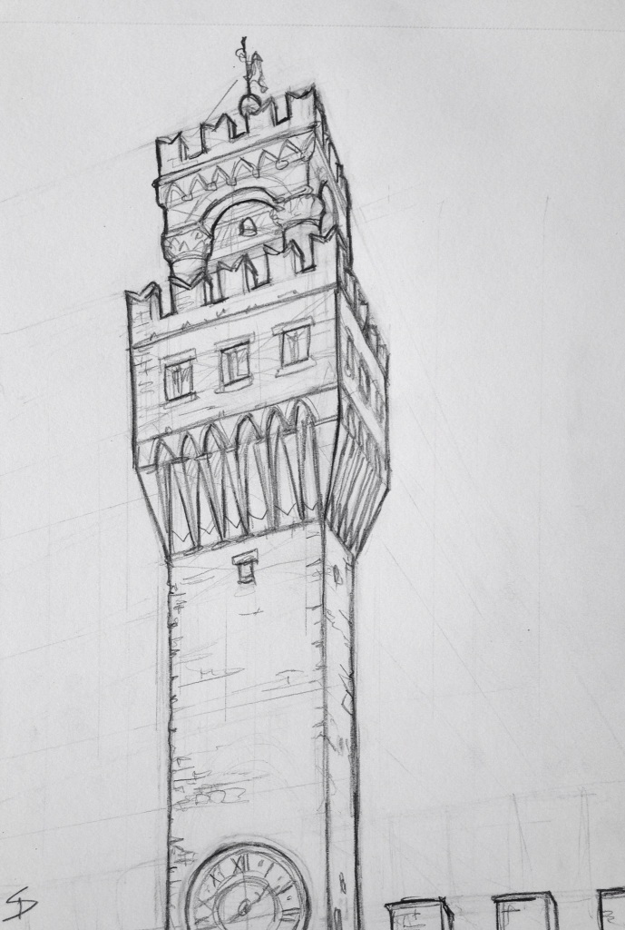 Urban Art 'Uffizi Gallery, Florence, Italy.' View from the Uffizi Gallery cafe. Massive queues to get in the gallery. sketchbookexplorer.com #art #drawing #sketch #pencil #illustration #travel #architecture
