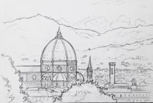 Urban Art 'Il Giardino Bardini, Florence, Italy.' Drawn in a garden overlooking Florence. sketchbookexplorer.com #art #drawing #sketch #pencil #illustration #travel #architecture