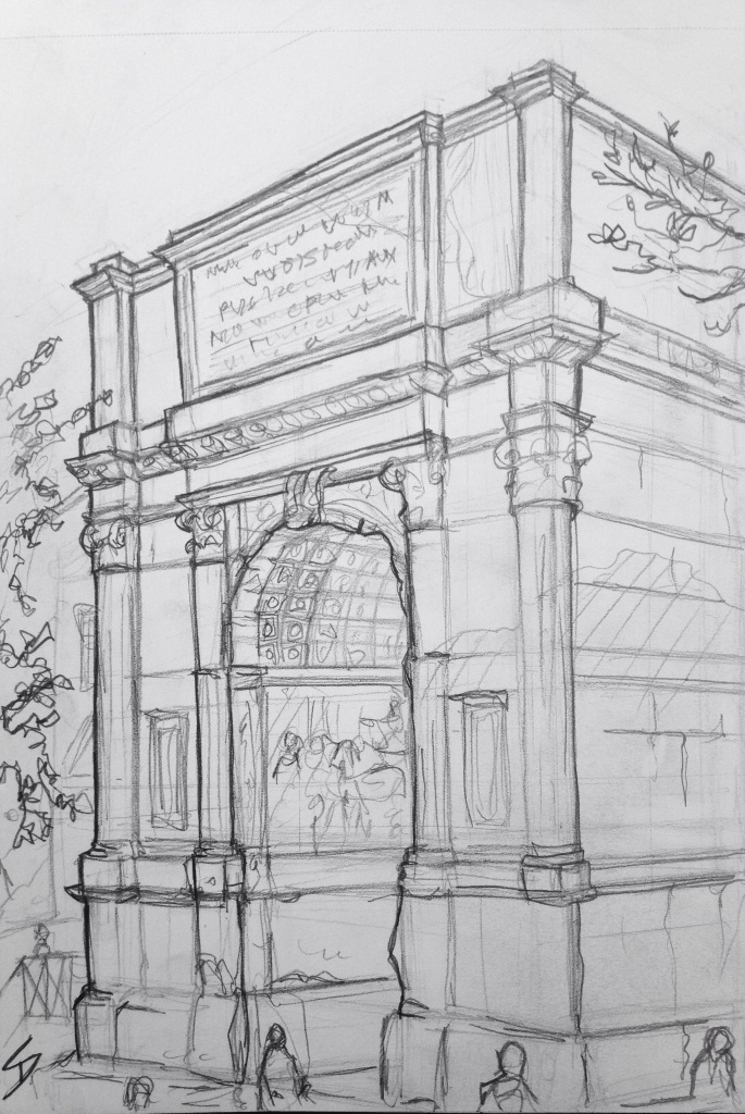Urban Art 'Arch of Titus, The Forum, Rome, Italy.' Just up the hill from the Curia, where Caesar was murdered. sketchbookexplorer.com #art #drawing #sketch #pencil #illustration #travel #architecture