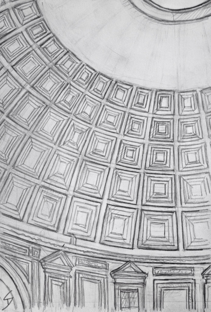 Urban Art 'The Pantheon, Rome, Italy.' View of the dome from inside. Amazing to think it's almost 2000 years old. sketchbookexplorer.com #art #drawing #sketch #pencil #illustration #travel #architecture