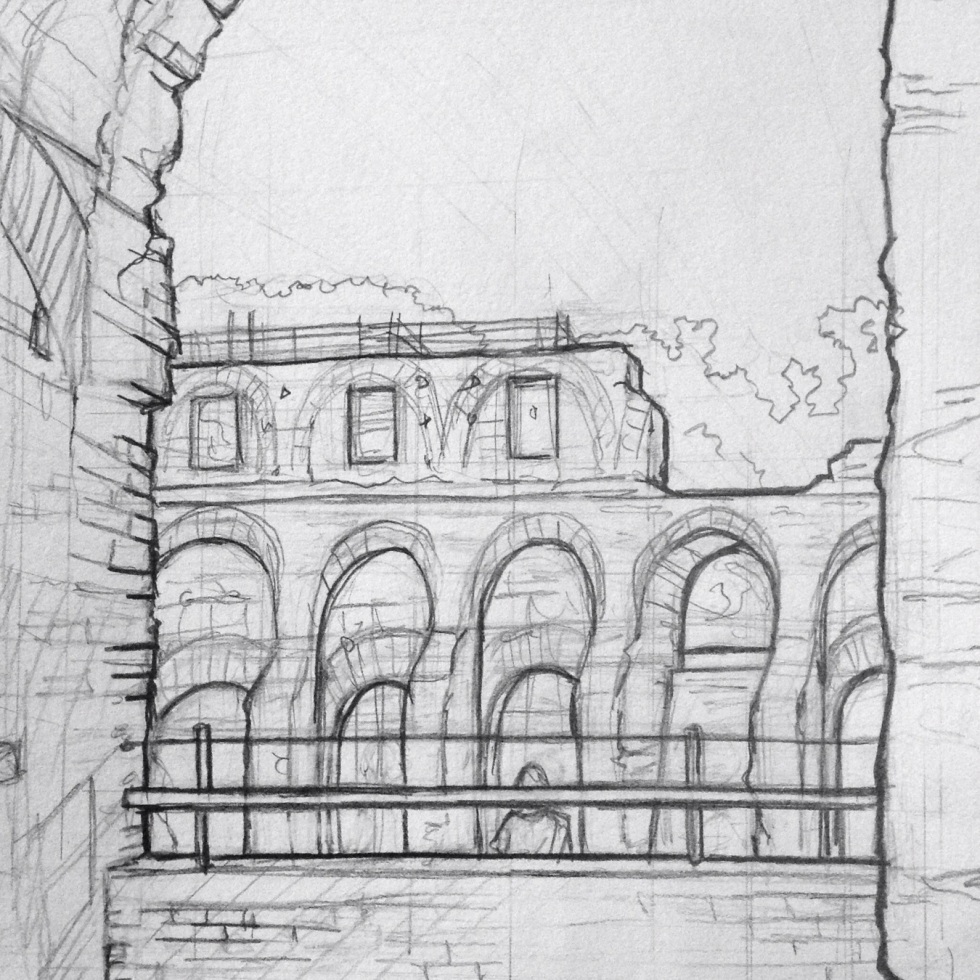 Urban Art 'The Colosseum, Rome, Italy.' View of the Amphitheatre from inside. sketchbookexplorer.com #art #drawing #sketch #pencil #illustration #travel #architecture