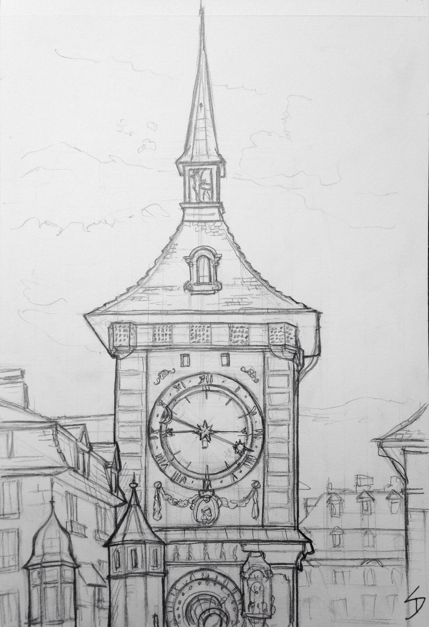 quick sketch the zytglogge clock tower bern switzerland