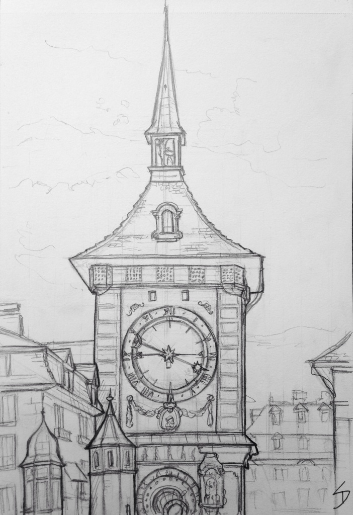 Urban Art 'The Zytglogge clock tower, Bern, Switzerland.' It has both a normal and an astronomical clock. It's also just a few feet away from an amazing chocolate store. sketchbookexplorer.com #art #drawing #sketch #pencil #illustration #travel #architecture