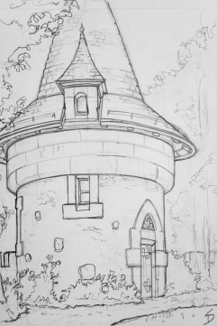 Urban Art - Bern, Switzerland. 'Bern Historical Museum.' A small Harry Potter looking building in the museum's grounds. sketchbookexplorer.com #art #drawing #sketch #pencil #illustration #travel #architecture #switzerland