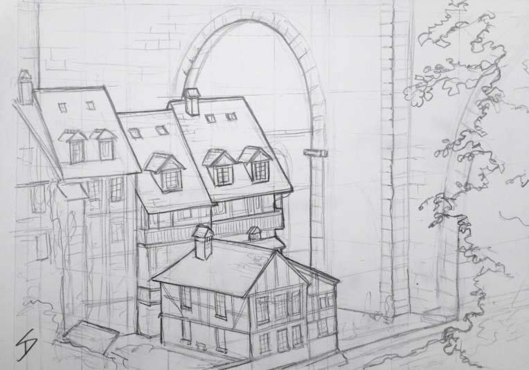 Urban Art 'Bear Park cafe, Bern, Switzerland.' View from the cafe of houses dwarfed by a bridge. The bear park is free. sketchbookexplorer.com #art #drawing #sketch #pencil #illustration #travel #architecture
