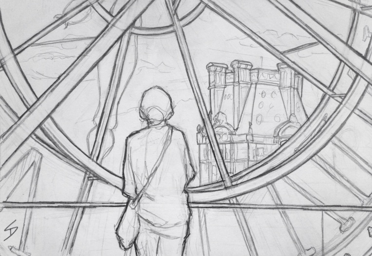 Urban Art - Paris, France. 'Musee d'Orsay.' A popular view of Paris through the glass of a giant clock face. sketchbookexplorer.com #art #drawing #sketch #pencil #illustration #travel #architecture #paris
