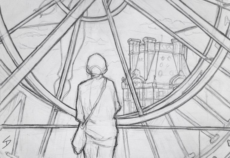 Urban Art - Paris, France. 'Musee d'Orsay.' A popular view of Paris through the glass of a giant clock face. sketchbookexplorer.com #art #drawing #sketch #pencil #illustration #travel #architecture #paris