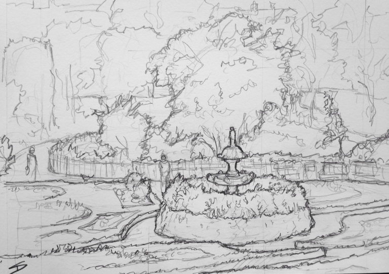 Urban Art - Shrewsbury, UK. 'Quarry Park.' Beautifully elegant park near the bank of the River Severn. My first life sketch since returning from my Europe trip. sketchbookexplorer.com #art #drawing #sketch #pencil #illustration #travel #architecture #shrewsbury