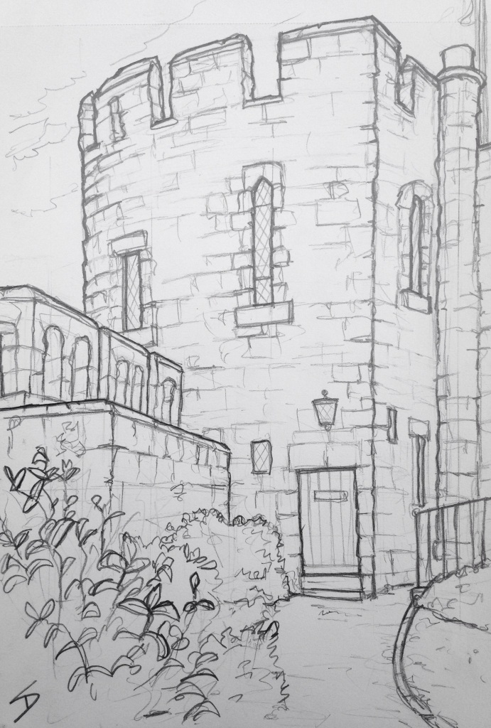 Urban Art - Shrewsbury, UK. 'Shrewsbury Castle.' View from the castle courtyard. sketchbookexplorer.com #art #drawing #sketch #pencil #illustration #travel #architecture #shrewsbury