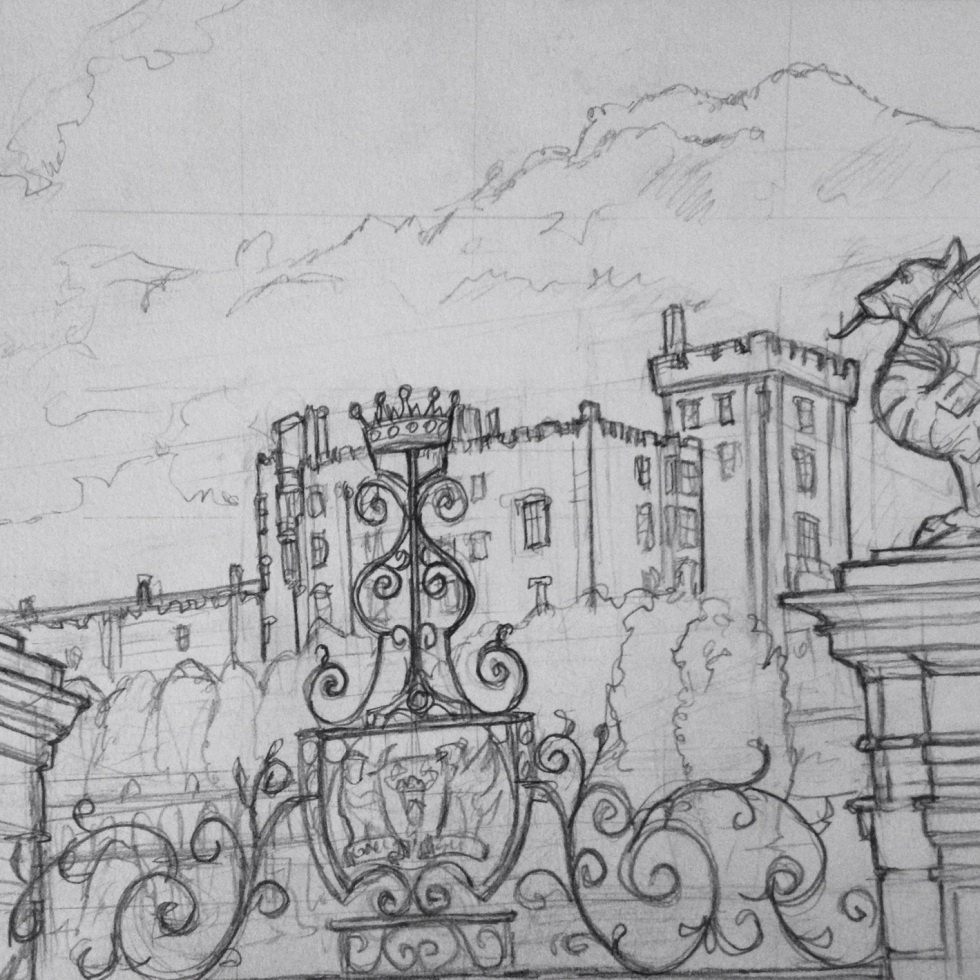 Urban Art - Welshpool, UK. 'Powys Castle.' View through the gates, at the bottom of the castle's beautiful gardens. sketchbookexplorer.com #art #drawing #sketch #pencil #illustration #travel #architecture #welshpool