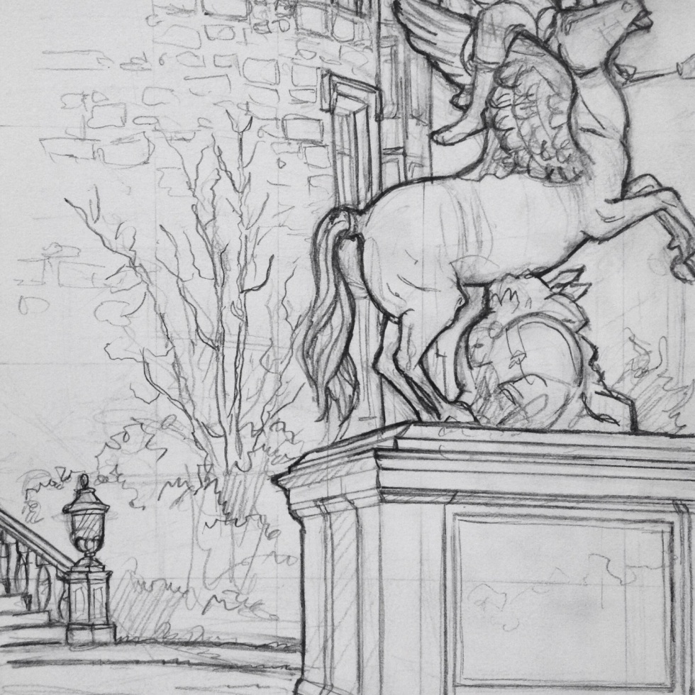 Urban Art - Welshpool, UK. 'Powys Castle, 2.' The courtyard, where peacocks come looking for scraps off the tables. sketchbookexplorer.com #art #drawing #sketch #pencil #illustration #travel #architecture #welshpool