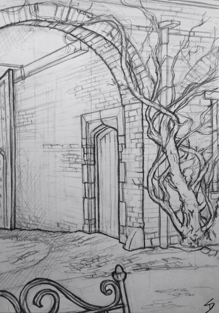 Urban Art - Welshpool, UK. 'Powys Castle, 3.' The courtyard archway. sketchbookexplorer.com #art #drawing #sketch #pencil #illustration #travel #architecture #welshpool