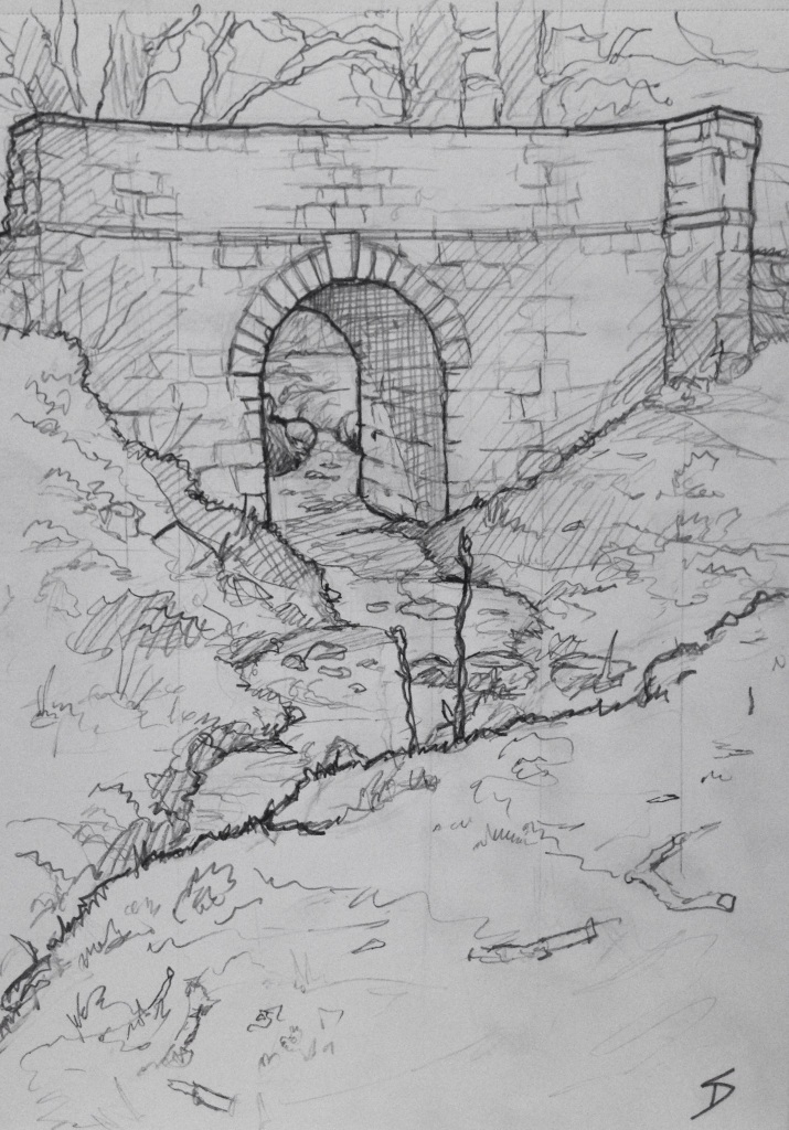 Urban Art - Welshpool, UK. 'Valley Bridge.' An old dirt track bridge over a tiny stream. sketchbookexplorer.com #art #drawing #sketch #pencil #illustration #travel #architecture #welshpool