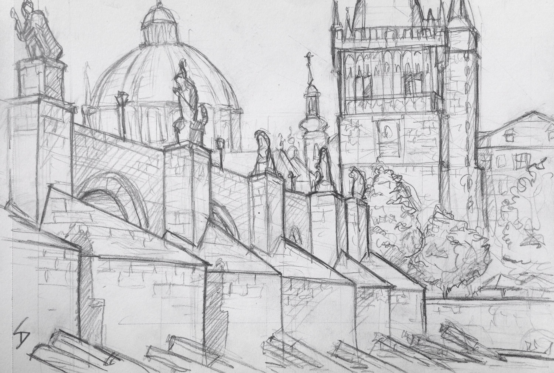 My First Sketch In Prague I Sheltered From The Sun A Great Spot Beside Bridge Davidasutton Drawing Czech