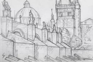 Quick Sketch. 'Charles Bridge, Prague.' Bookended by two fairytale towers, and lined with statues, this 15th century bridge connects Prague Castle to the Old Town. You'll often find it crammed with tourists, artists, and musicians. @davidasutton @sketchbookexplorer Facebook.com/davidanthonysutton #drawing #sketch #prague #travel #travelblog #charlesbridgeprague