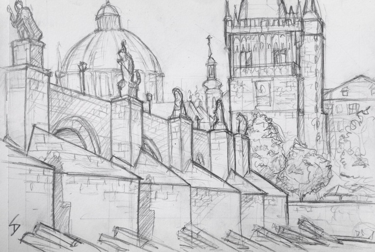 Urban Art - Prague, Czech Republic. 'Charles Bridge.' My first sketch in Prague. I sheltered from the sun in a great spot beside the bridge. Bookended by two fairytale towers, and lined with statues, this 15th century bridge is often crammed with tourists, artists, and musicians. sketchbookexplorer.com #art #drawing #sketch #pencil #illustration #travel #architecture #prague