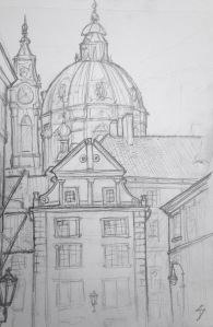 "Urban Art - Prague, Czech Republic. 'Snemovni.' Near a lovely tiny park. The area is called Mala Strana - meaning ""Little Side"" (of the river). It's often also called ""Lesser Town."" sketchbookexplorer.com #art #drawing #sketch #pencil #illustration #travel #architecture #prague"