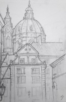 "Quick Sketch. 'Snemovni, Mala Strana, Prague.' Near a lovely tiny park area. The area is called Mala Strana - meaning ""Little Side"" (of the river). It's often also called ""Lesser Town."" @davidasutton @sketchbookexplorer Facebook.com/davidanthonysutton #drawing #sketch #prague #travel #travelblog #malastrana"