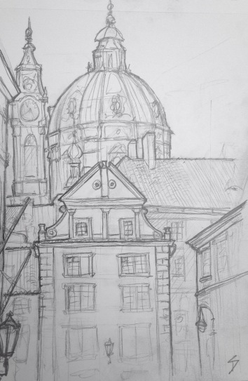 "Quick Sketch. 'Snemovni, Mala Strana, Prague.' Near a lovely tiny park area. The area is called Mala Strana - meaning ""Little Side"" (of the river). It's often also called ""Lesser Town."" @davidasutton @sketchbookexplorer Facebook.com/davidanthonysutton #drawing #sketch #prague #travel #travelblog #malastrana"