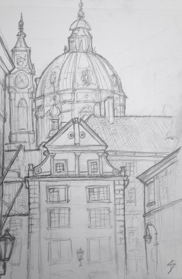 """Urban Art - Prague, Czech Republic. 'Snemovni.' Near a lovely tiny park. The area is called Mala Strana - meaning """"Little Side"""" (of the river). It's often also called """"Lesser Town."""" sketchbookexplorer.com #art #drawing #sketch #pencil #illustration #travel #architecture #prague"""