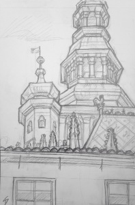 Urban Art - Prague, Czech Republic. 'Saint Vitus Cathedral, Prague Castle.' The 9th century castle is the official residence of the Czech President, and home of the Bohemian Crown Jewels. The cathedral holds a stunning stained glass window by Czech artist Alfons Maria Mucha. As I was sketching, a selfie stick suddenly appeared over my shoulder, and went in for a closer look. sketchbookexplorer.com #art #drawing #sketch #pencil #illustration #travel #architecture #prague