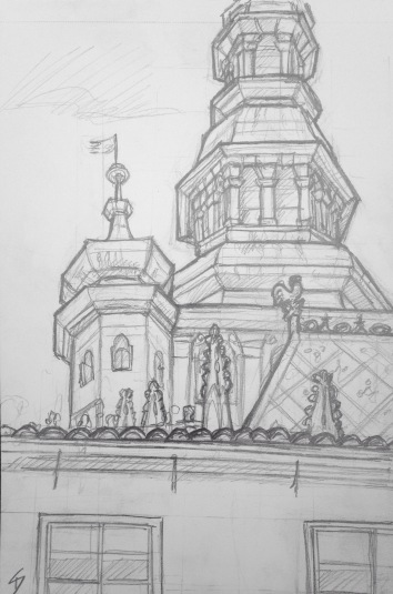 Quick Sketch. 'Saint Vitus Cathedral, Prague Castle.' The 9th century castle is the official residence of the Czech President, and home of the Bohemian Crown Jewels. The cathedral holds a stunning stained glass window by Czech artist Alfons Maria Mucha. @davidasutton @sketchbookexplorer Facebook.com/davidanthonysutton #drawing #sketch #prague #travel #travelblog #praguecastle